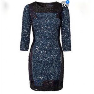 Sequinned long sleeved cocktail dress